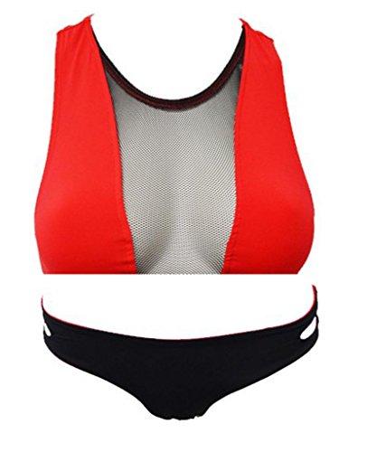 Ailin home- Bikini de dos piezas de mujer conjunto traje de baño de cuello halter bajo cintura Rojo