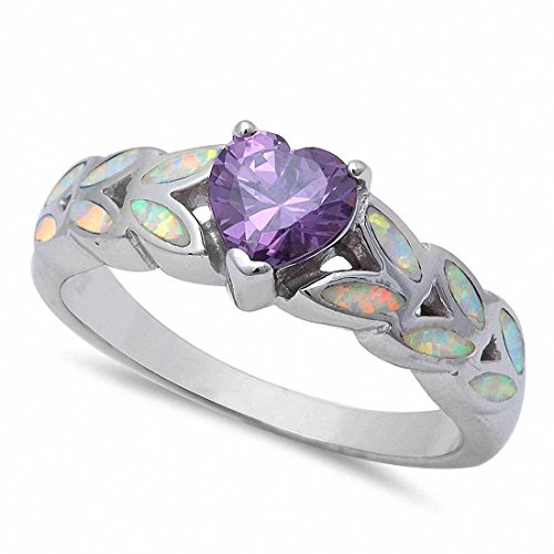 Blue Apple Co. Heart Promise Ring Created Opal Heart Simulated Stone 925 Sterling Silver Choose Color