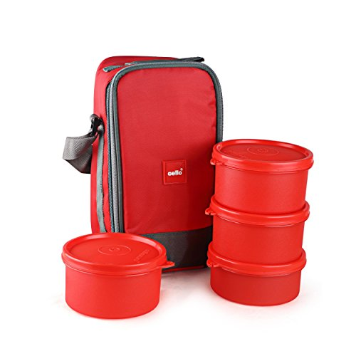 Cello Max Fresh Joy Plastic Lunch Box Set, 4 Pieces, Red