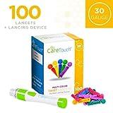 Care Touch Adjustable Lancing Device w/ 10 Depths Plus 100 30 Gauge Multi Colored Lancets