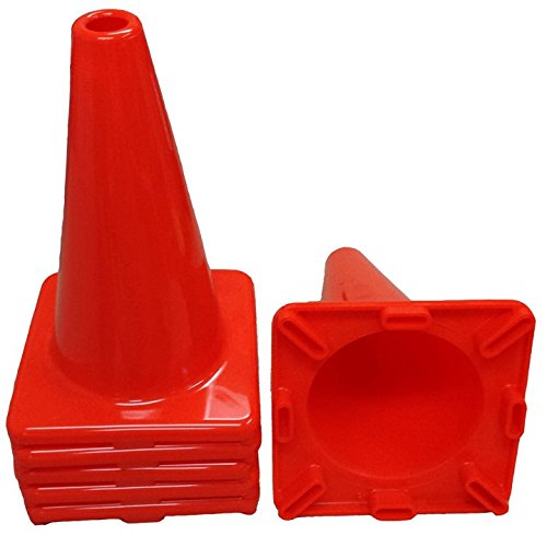 (Workoutz Heavy Duty Orange Rubber Cones (6 Qty) for Sport Safety Racing Traffic (12 Inch Tall Cones (6 Qty)))