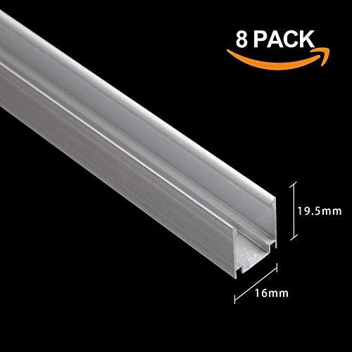 Shine Decor 3.3FT/1M Aluminum Track 110V 15mmx25mm LED Neon Rope Lights, Pack of 8