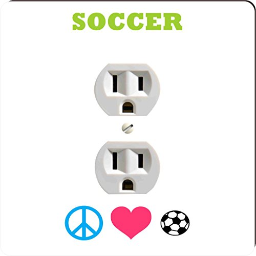 Rikki Knight 41556 Outlet Peace Love Soccer Design Outlet Plate by Rikki Knight