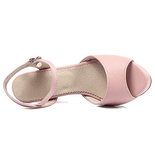 Coolcept Mujer Moda Al Tobillo Sandalias Peep Toe Singback Plataforma Tacon Embudo Zapatos Rosado