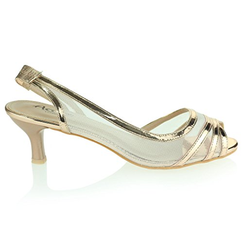 Mujer Señoras Ver A Través de Peep Toe Slingback Tacón Bajo Noche Fiesta Boda Prom Nupcial Sandalias Zapato Talla Champán