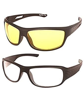 7577524b8d48 Y&S Night Vision Unisex Driving Sunglasses Combo  (Nightvisioncombo|55|Yellow|White)
