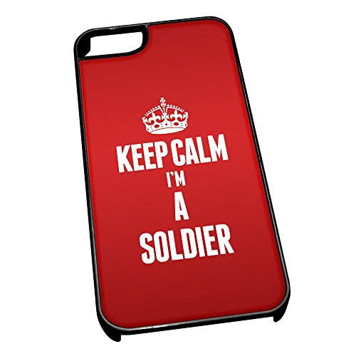 Nero cover per iPhone 5/5S 2680Red Keep Calm I m A Soldier