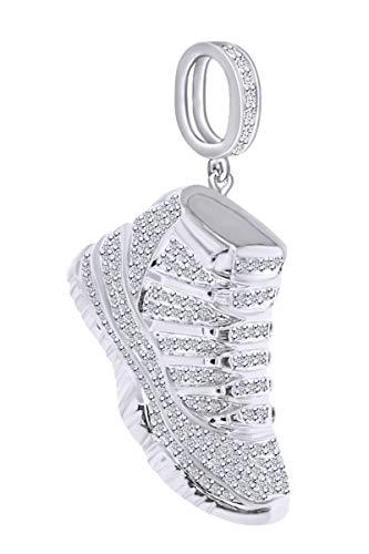 1.16 Carat(Cttw) Round White Natural Diamond Hip Hop Jewelry Sneaker Shoe Men's Pendant In 10k Solid White Gold