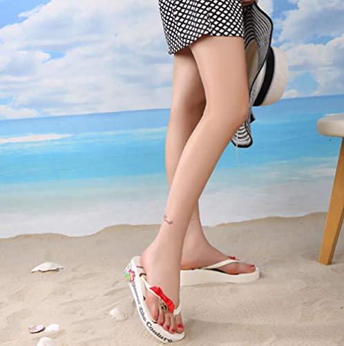 37 tacco Spiaggia Infradito Arco Fondo Traspirante Spesso Mid Shangxian E Sandali blue Stampa Scarpe White Donna Pantofola Comodo Floreale Estate 1ZwxwU