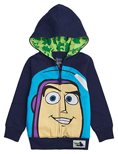 (Toy Story Disney Big Face Zip-Up Hoodies -Buzz Lightyear, Woody - Boys (Buzz Navy, 2T))