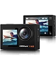 $79 » 【2021 Newest】 Campark X40 Action Camera 4K 20MP Dual Screen EIS Touchscreen Remote Control WiFi Waterproof 40M Vlogging Camera with 2x1350mAh Batteries and Accessories Kit Compatible with Go-Pro