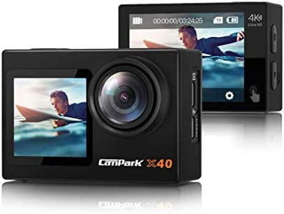 【2021 Newest】 Campark X40 Vlogging Camera 4K 20MP Action Camera Dual Screen EIS Touchscreen Remote Control WiFi Waterproof 40M with 2x1350mAh Batteries and Accessories Kit Compatible with Go-Pro