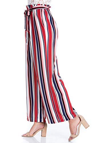 - Design by Olivia Women's High Waist Wide Longulti Stripe Pants with Belt,Ipaw034 Navy/Red,Small