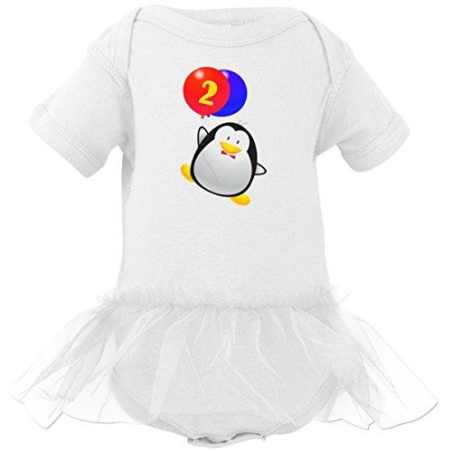 Inktastic Baby Girls' Penguin 2nd Birthday Infant Tutu Bodysuit 18 Months White