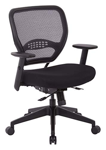 SPACE Seating AirGrid Back and Padded Mesh Seat, 2-to-1 Synchro Tilt Control, Adjustable Arms, Black
