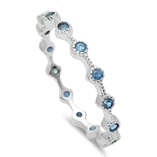 (Blue Apple Co. 2mm Dainty Stackable Full Eternity Band Ring Round Simulated Aquamarine 925 Sterling Silver, Size - 9 )