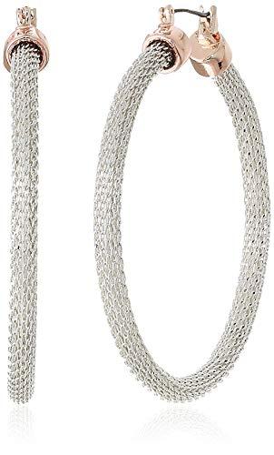 Kenneth Cole Women's Two-Tone Mesh Hoop Earrings, Silver ()