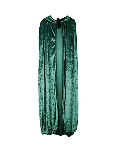 Magician Costume Women (Hooded Cape Medieval Style Halloween Velvet Cosplay Cloak Costume Ball Fancy Dress)