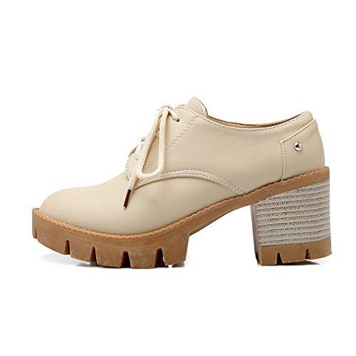 AllhqFashion Mujeres Puntera Redonda Tacón Medio PU Sólido Cordones Zapatos de Tacón, Beige, 43