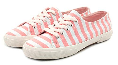 Aisun Womens Stripete Lave Topp Flate Lerret Sko Joggesko Pink
