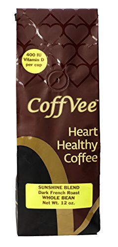 Sunshine Blend CoffVee - Coffee Infused with Heart Healthy Antioxidants and Vitamin D - Dark French Roast - Whole Bean Coffee - 12 oz