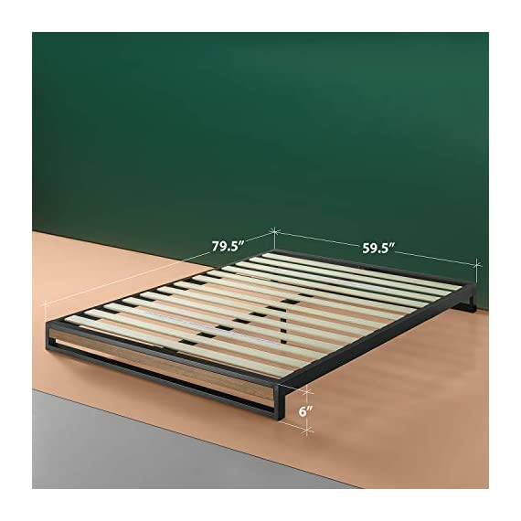 ZINUS GOOD DESIGN Award Winner Suzanne 6 Inch Metal and Wood Platforma Bed Frame / No Box Spring Needed / Wood Slat Suport, Brown, Queen - 6 inch high strong, low profile steel frame structure with wood slat support for mattress longevity Wood panel footboard detail Easily assembles in minutes - bedroom-furniture, bedroom, bed-frames - 41iQVJo62xL. SS570  -