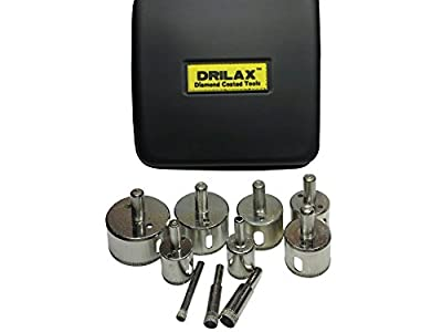 "Drilax™ 10 Pcs Diamond Drill Bit Set Hole Saws for Kitchen, Bathroom, Shower, Faucet Wet Drilling Tool Ceramic, Porcelain Tiles, Glass, Marble, Granite Hole Sizes 1/4"", 3/8"", 1/2"" (0.5 Inch) , 3/4"" , 1"", 1 1/4"", 1 3/8"", 1 1/2"", 1 3/4"", 2"""