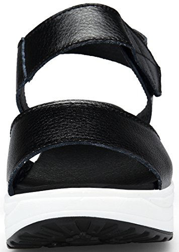 Camminare Comode Fitness Donna Dimagranti Estivi Sandali Pelle per DAFENP Sandali Zeppa con Platform Nero2 Scarpe OAdxYY8wq