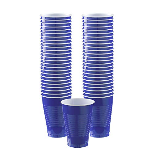 Big Party Pack Bright Royal Blue Plastic Cups | 12 oz. | Pack of 50 | Party Supply