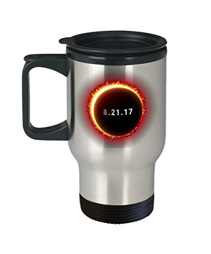 Solar Eclipse Travel Coffee Mug - Cool 14oz Stainless Steel Tea Cup With Lid. August 21 2017 Souvenir USA Eclipse. Science & Astronomy Astrology Gifts. by Novelty & Gag Gifts