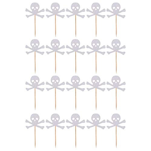 20pcs Halloween Cake Toppers Skull Cupcake Toppers Fruit Picks for Halloween Party Decorations Party Supplies - Silver ()