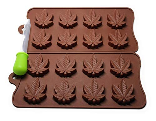 Marijuana Leaf Silicone Candy Mold Chocolate, Gummy, Ice Cube, Cupcake Toppers, Baking Mini Brownies, 420 Decorations (2 Molds + 1 Dropper)