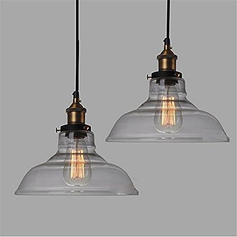 Lámpara de techo E27 28CM Vintage Industrial pantalla de vidrio ...