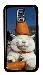 Diy Fashion Case for Samsung Galaxy S5,Black Plastic Case Shell for Samsung Galaxy S5 i9600 with Radish Cat