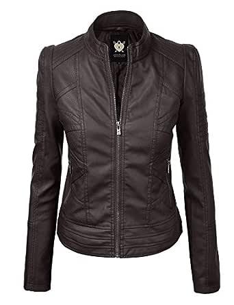 WJC746 Womens Vegan Leather Motorcycle Jacket XS COFFEE