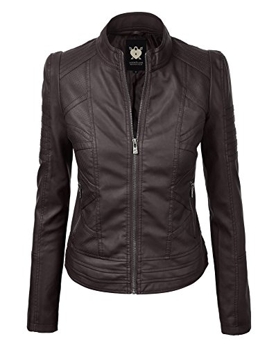 LL WJC1496 Womens Floral Embroidered Faux Leather Moto Jacket M Black