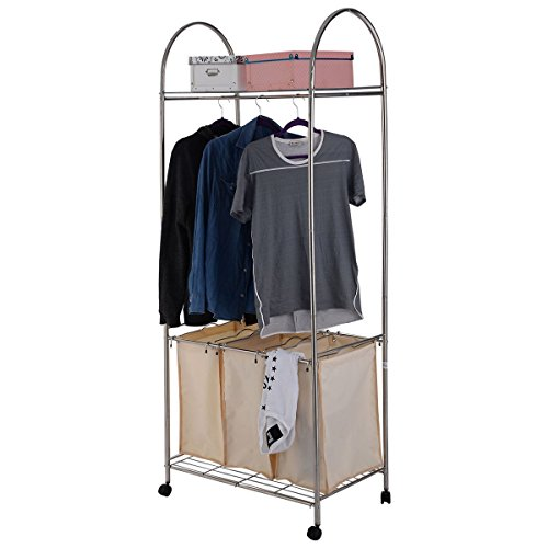 MasterPanel - 3 Bag Laundry Hamper Washing Bin 2-Tier Rolling Clothing Garment Rack Shelf #TP3315 (New York Jets Hamper compare prices)
