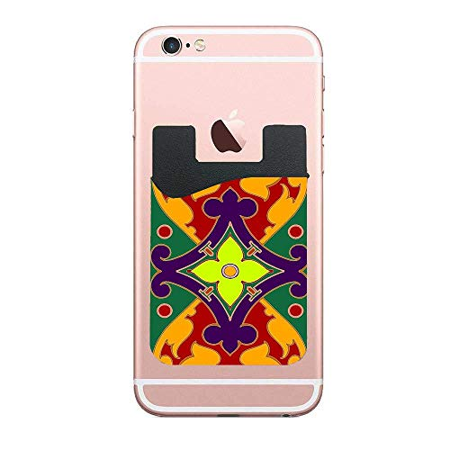 Two Adhesive Phone Stick On Wallet & RFID Blocking Sleeve,Ornate Filigree Universally Fits Most Cell Phones & Cases,Ultra-Slim,Tall Pocket Totally Covers Credit Cards & Cash