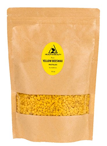 (Yellow Beeswax Bees Wax Organic by H&B Oils Center Pastilles Beads Premium Prime Grade A 100% Pure 16 oz, 1 LB )