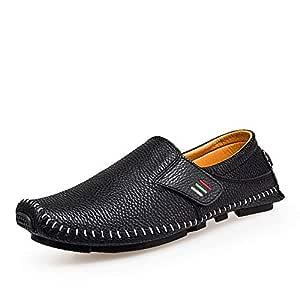 JAUROUXIYUJI Men's Beanie Shoes Men's Spring Peas Shoes Baotou Flat Men's Casual Shoes (Color : Black, Size : 48 EU)