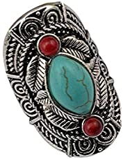 Bohemian style tibet silver design turquoise gem stone big beachy joint ring 1294
