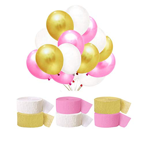 Pink Gold Color Crepe Paper Party Streamer Balloon Decorations Set for Wedding Birthday Party Thanksgiving (Pink)]()