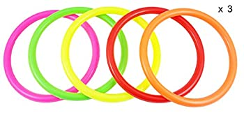 Fushing 15pcs Multicolor Plastic Toss Rings For Kids Ring Toss Game, Speed & Agility Training Games,carnival Garden Backyard Outdoor Games,bridal Shower Game,game Booth 0