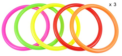 Fushing 15Pcs Multicolor Plastic Toss Rings for Kids Ring Toss Game, Speed And Agility Training Games,Carnival Garden Backyard Outdoor Games,Bridal Shower Game,Game Booth (3.35