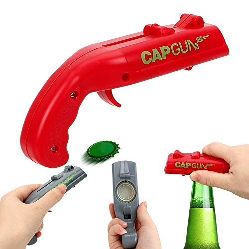 Cap Gun Launcher Shooter Drink Bottle Opener Beer Openers Ewadoo Fun Accessory for Party, Bar, Barbecue & Drinking Game - Red ()