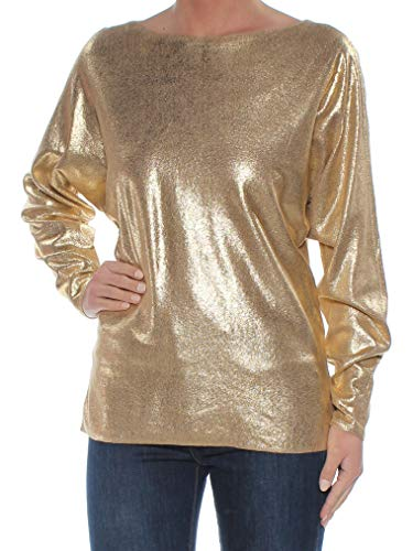 LAUREN RALPH LAUREN Womens Metallic Sparkly Sweater Gold L