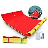 Popsport Floating Water Mat 9X6FT/12X6FT/18X6FT Floating Foam Pad Water Recreation and Relaxing in Pool/Beach/Lake Water Floating Mat with DIY Head Pillow for Adults and Kids (18X6FT,Red&Yellow)