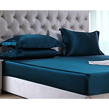 OroseSilk 19MM 3Pc 100% Mulberry Silk Seamless Fitted Sheet Set, Deep Pocket, Gift Wrap (King, Peacock Blue)