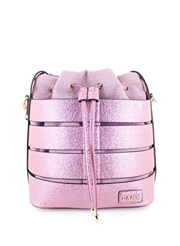 Strap LANY Metallic Fabric Pouch Pink Detachable Caged Textured Bucket Crossbody Handbag w q1arqvU