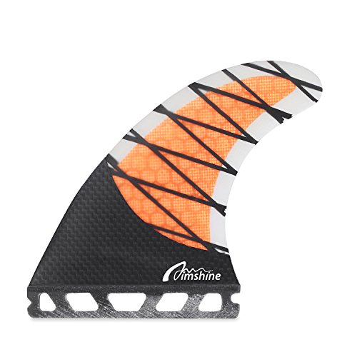 Thruster Fin - Aimshine G5 Future Surfboard Fin,Core Carbon Thrusters,Center Fin for Longboard& Paddleboard(Orange)